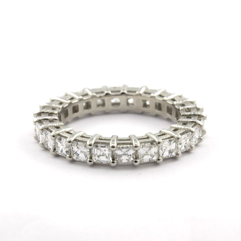 Platinum Asscher Cut 6.05 Carat Diamond Ring Dia Certified Eternity Band