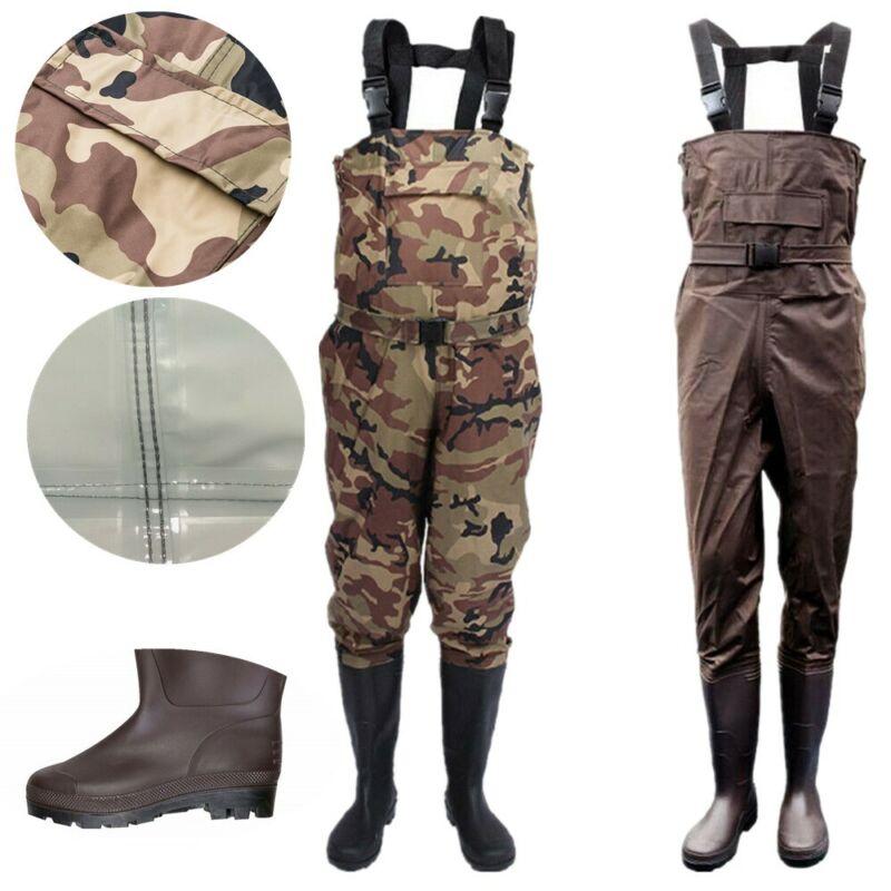 Waterproof Chest Waders Nylon PVC Fishing Hunting w/ Wading Boots Men Women US