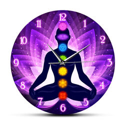 Meditating Human In Lotus Pose Wall Clock Sacral Lotus Flower Background Watch