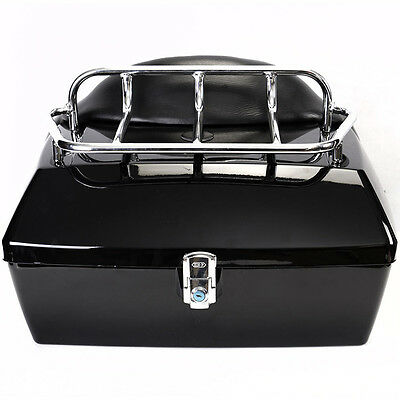 Motorcycle Trunk Tail Box Luggage Case w/Top Rack&Backrest For Honda Touring