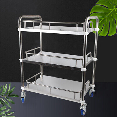 Hospital Vehicle 3 Layers Cart Trolley Lab Clinic Serving Cart Stainless Steel