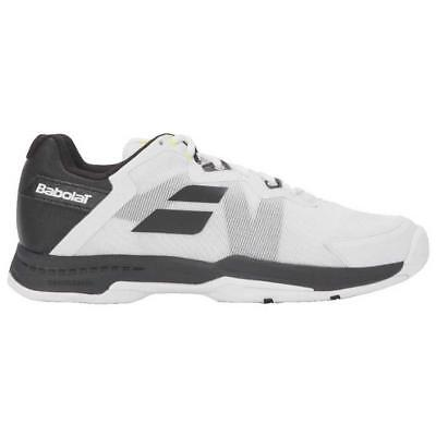 Babolat SFX3 All Court White/Bk/Silver Men's S - Size 10.5 -FREE String and Grip (Tennis-schuhe Strings)