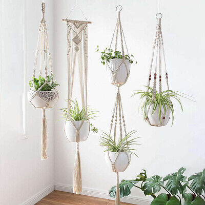 Macrame Plant Hangers Indoor Wall Hanging Planter Basket Flower Pot Holder Us66#