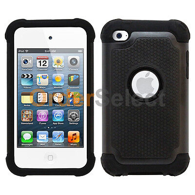 Hybrid Rugged Rubber Matte Hard Case Cover for Apple iPod Touch 4 4th Gen Black