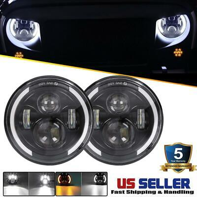 DOT Pair 7 Inch CREE LED Headlights Halo Angle Eye For Jeep Wrangler JK TJ CJ LJ 1970 Dodge D200 Pickup