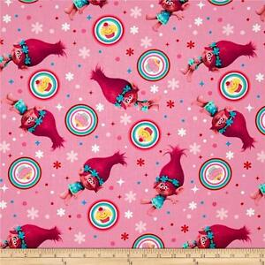 Trolls poppy cupcake  pink   100% cotton fabric   FQ or by the yard