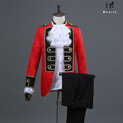 Mens Uniform Jacket Pant Full Set Halloween Party King Prince Cosplay Costume](Halloween Costumes Red Pants)