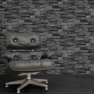 MURIVA LARGE SLATE WALLPAPER CHARCOAL GREY (J274-09) J27409 STONE BRICK NEW