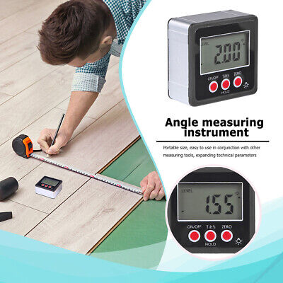 Digital Protractor Inclinometer Level Angle Magnetic Base Measuring Tools F8v8