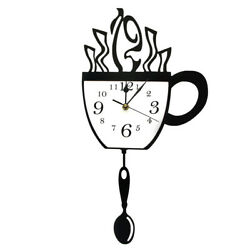 Coffee Cup Pendulum Wall Clock With Swinging Modern Kitchen Home Decoration Gift