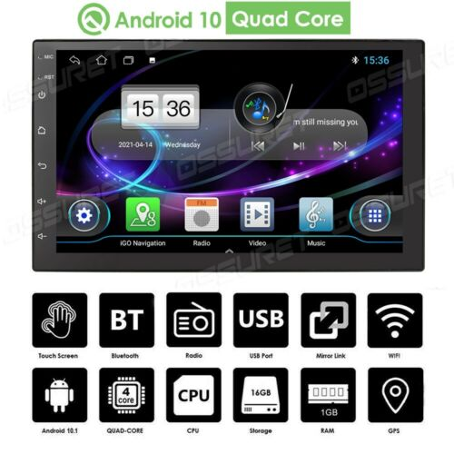 """7"""" Android 10 Car Stereo GPS Navigation Radio Player Double Din WIFI USB +Camera"""