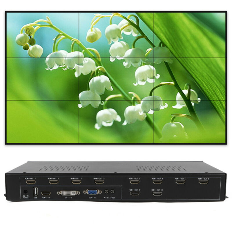 9 Channel TV Video Wall Controller 3x3 2x3 3x2 Rico DVI VGA USB Video Processor
