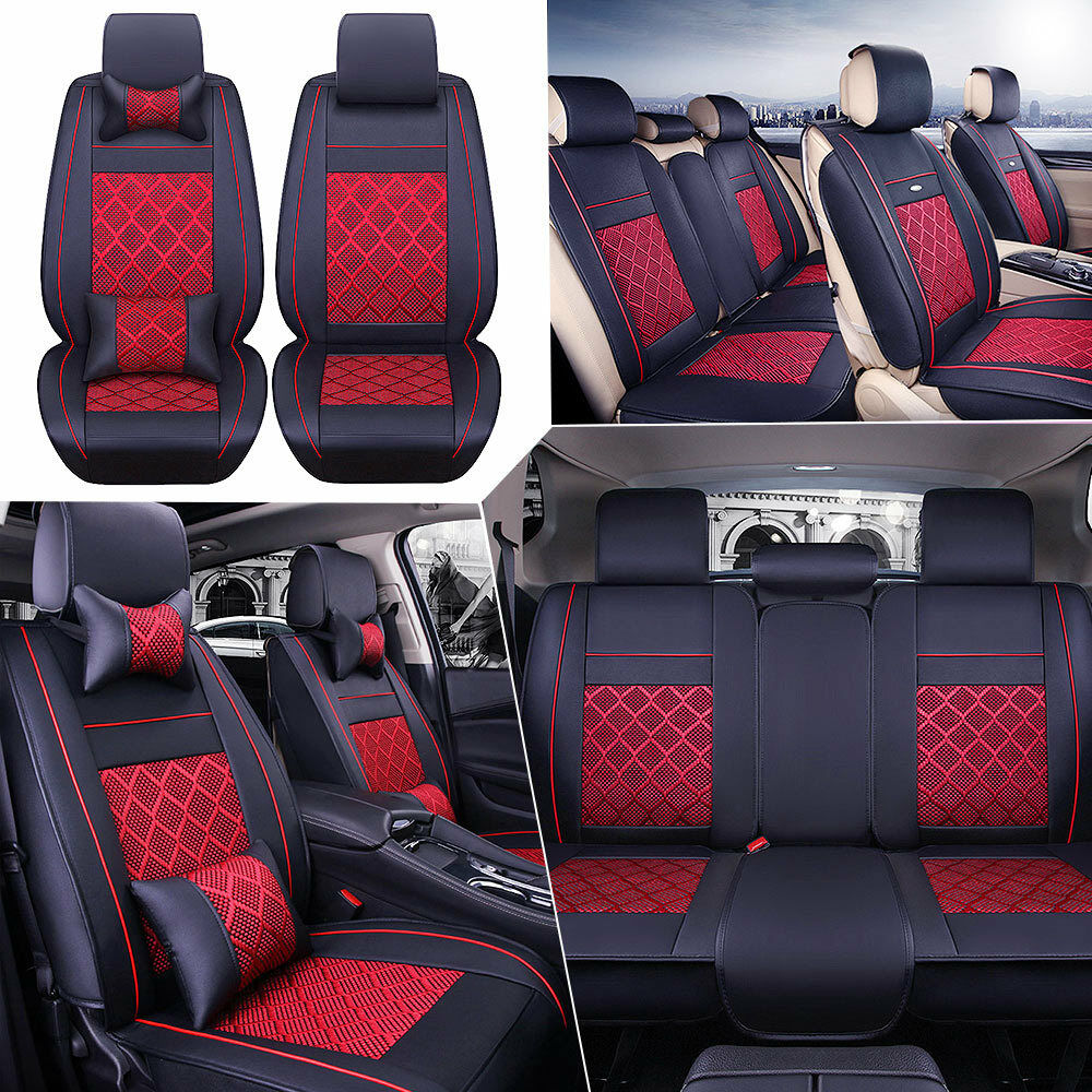 Car Seat Covers Pu Leather Front Rear Cushion Mess Seat