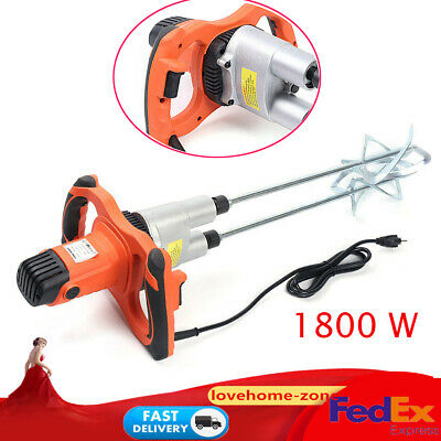 1800w Electric Mortar Mixer Dual 2 Speed Paint Cement Grout Mortar Twin Paddle