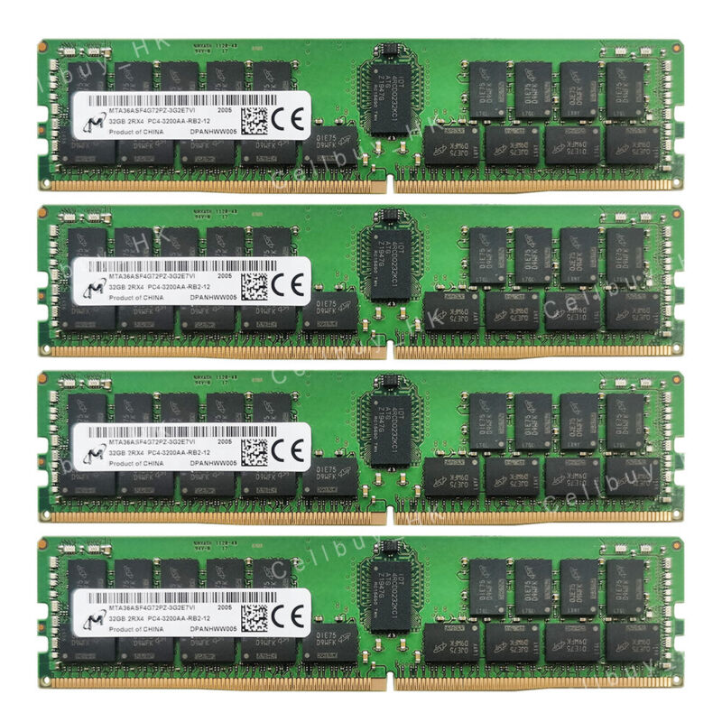 Micron 128GB 4X32GB PC4-3200AA Server Memory For AMD EPYC 7002 series processors