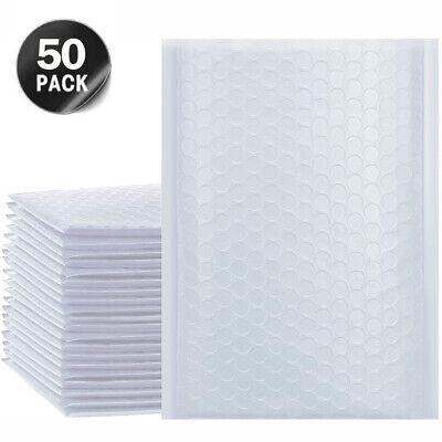 50X White Poly Padded Envelopes Bubble Postal Mailing Packaging Bag Self Sealing