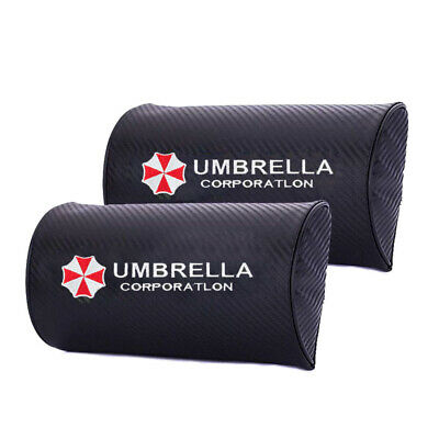 2x Umbrella Corporation Car Carbon Fiber Seat Neck Pillows Headrest Cushion Pad ()