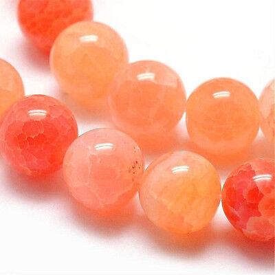 Achat Perlen Edelsteine Natür Crackle 8mm Orange Halbedelstein A Grade BEST G760