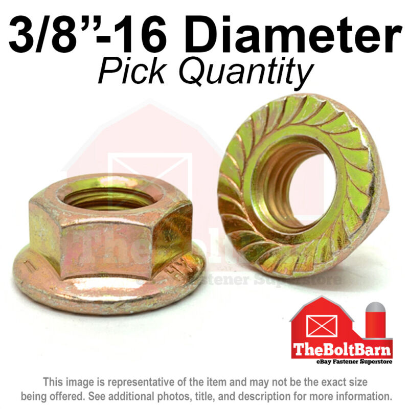 "3/8""-16 Grade 8 Serrated Flange Whiz Lock Nuts Coarse Zinc Yellow (Pick Qty)"