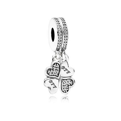 Authentic Sterling Silver Best Friends Forever Dangle Pendant Charm fit