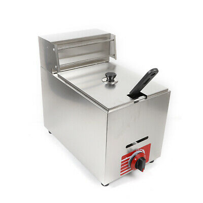 10l Commercial Countertop Gas Fryer Deep Fryer With 1 Basket Stainless Steel