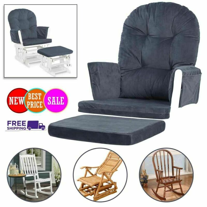 5pc Glider Rocking Chair & Ottoman Baby Nursery Replacement Cushions Velvet