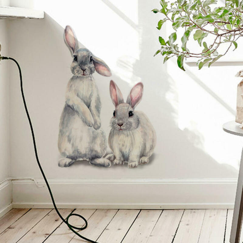 Home Decoration - Removable Two Rabbit Wall Sticker Baby Nursery Room Home Window Decoration DIY