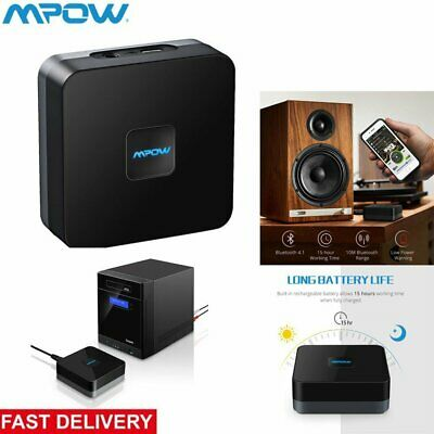 MPOW Bluetooth 5.0 Wireless Audio Receiver Adapter Built-in Battery 3.5mm to RCA Rca Fm Transmitter