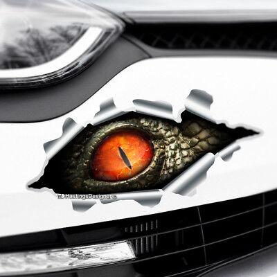 TORN RIPPED 3D EFFECT PEEKING DINOSAUR EYE Scary Car,Bumper Vinyl Decal Sticker