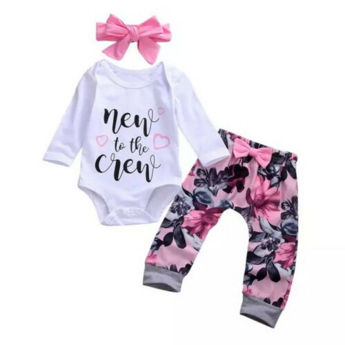Newborn Baby Girl Romper Jumpsuit Tops Floral Pants Headband Outfits Clothes Set