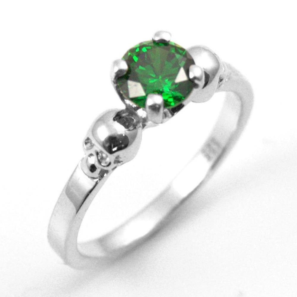 Solid Silver 1ct Aquamarine Diamond-Unique Hand Crafted Skull Engagement Ring