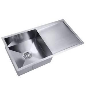 handmade stainless steel kitchen laundry sink strainer waste 87 - Kitchen Sinks Sydney