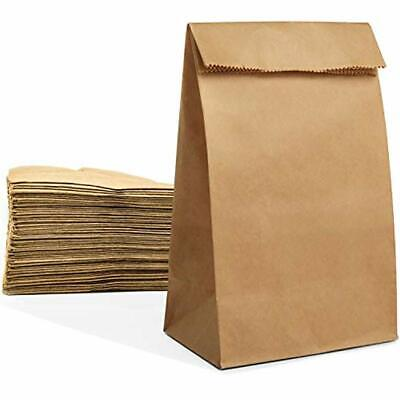 100 Large Paper Grocery Bags, 12x7x17 Kraft Brown Heavy Duty Sack Recycling &