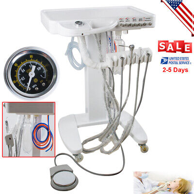 Dental Delivery Unit Mobile Cart Work With Compressor Portable 4hole Machine Usa
