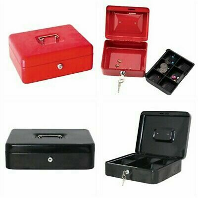 Steel Small Cash Box Security Safe Fire Proof Key Lock Case Gun Jewelry Money US