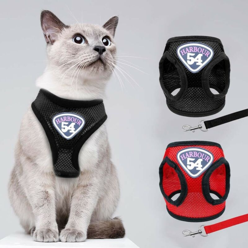 Breathable Puppy Small Dog Cat Harness and Walking Leads Set