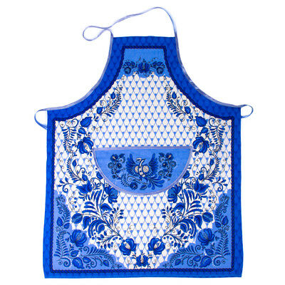 Cotton Apron w/ Front Pocket and Birds and Floral Print. Russian Gzhel Style ()