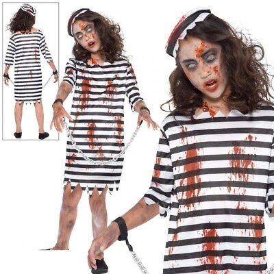 Kinder Zombie Sträfling Mädchen Halloween Gefangene Kostüm Alter 4-12 ()