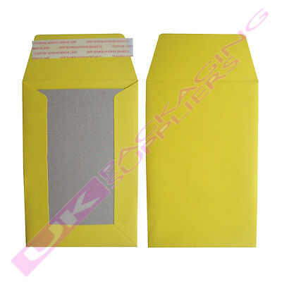 5 SMALL YELLOW A6 C6 HARD BOARD BACKED SELF SEAL ENVELOPES MAILERS 114x162mm