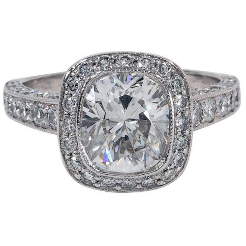 Vintage Style Cushion Cut Diamond Engagement Ring 2.75 CT GIA Certified Platinum
