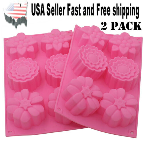 2 PACK Flower Shaped Silicone DIY Handmade Soap Mold Muffin Cup Cake ~US Seller