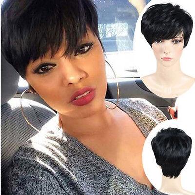 Perücke Kurz Gerade Schwarz Haar Pixie Wig Short Cut Lady Straight Black Hair