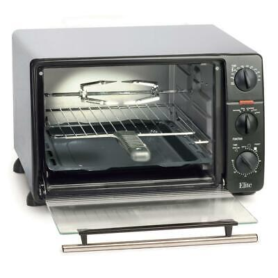 1500 W 6 Slice Counter Top Toaster Oven Broiler Rotisserie Black Stainless Steel