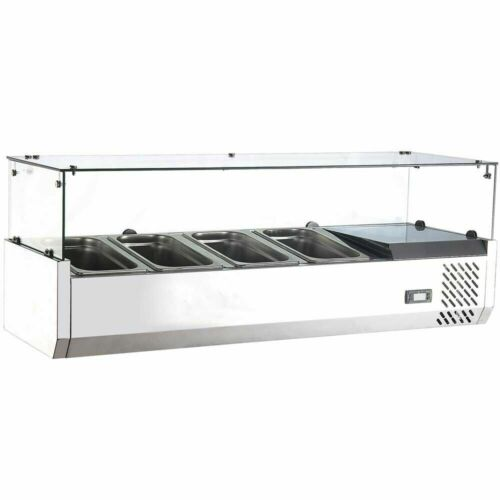 "Marchia MTR4 48"" Refrigerated Countertop Salad Bar, Topping Rail"