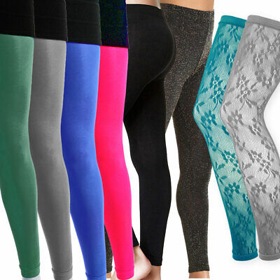 Ladies Womens Lace Footless Dance Tights Black Sparkly Glitter Coloured - Sparkly Black Tights