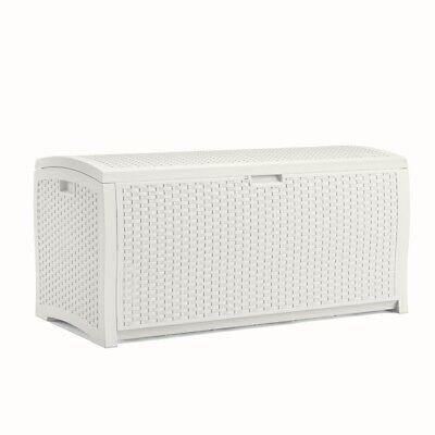Suncast DB9200WD White Wicker Resin Deck Box, 99 gallon