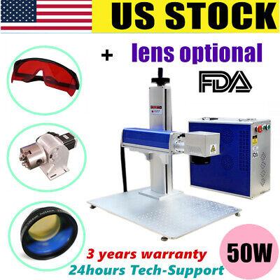 Fda Ce 50w Split Fiber Laser Marking Engraving Machine Rotary Axis Include