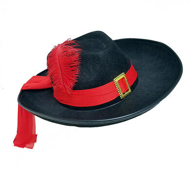 Three Musketeers Hat Costume Theatrical Pirate with Red Sash and Feather