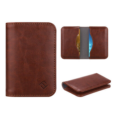 Brown Business Card Holder Wpremium Vegan Leather Folio Rfid Blocking Organizer