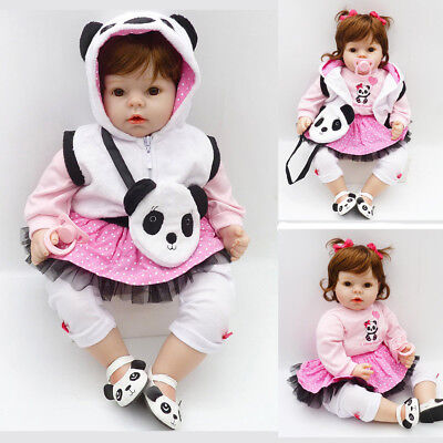 "22"" Cute Panda Reborn Baby Doll Toy Toddler Lifelike Silicone Vinyl Girl Dolls for sale  Shipping to Canada"